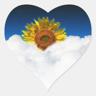 Sunflower Sunrise Heart Sticker