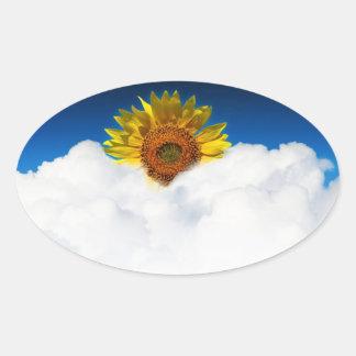 Sunflower Sunrise Oval Sticker