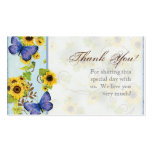 Sunflower Swirl Floral Frame Blue Butterfly Invite Business Card Template
