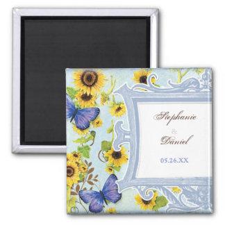 Sunflower Swirl Floral Frame Blue Butterfly Invite Magnet