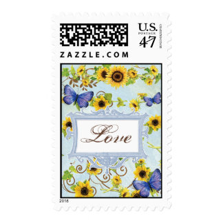 Sunflower Swirl Floral Frame Blue Butterfly Invite Postage