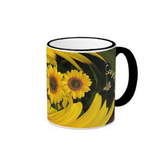 Sunflower  swirl ringer coffee mug