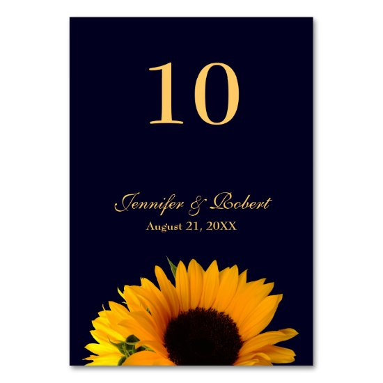 Sunflower Table Number (Navy Blue)