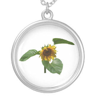 Sunflower Takes a Bow Round Pendant Necklace