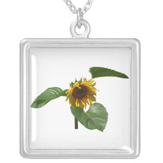 Sunflower Takes a Bow Square Pendant Necklace