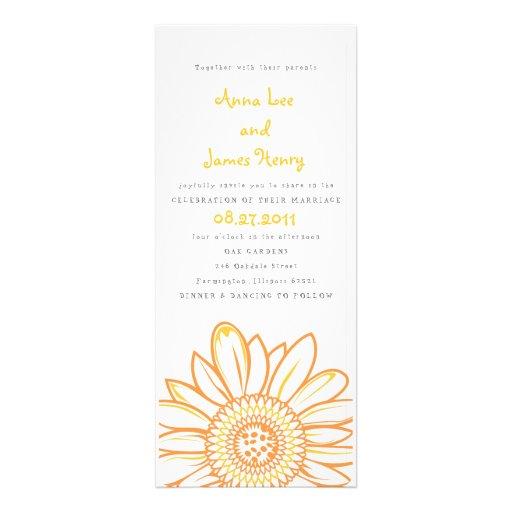 Sunflower Tea Length Wedding Invitation Zazzle