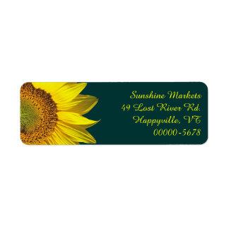 Sunflower Teal Return Address Labels Skinny