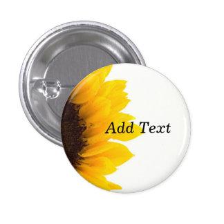 Sunflower template, bold text print pinback button
