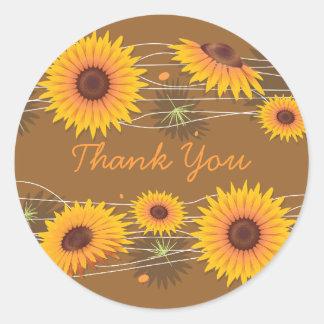 Sunflower Thank You Classic Round Sticker