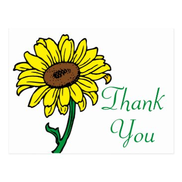 Beach Themed Sunflower Thank You Floral Yellow & Green Wedding Postcard