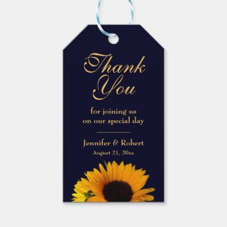 Sunflower Thank You Gift Tag (Navy Blue)