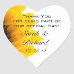 Sunflower Thank You Hearts Wedding Favor Stickers