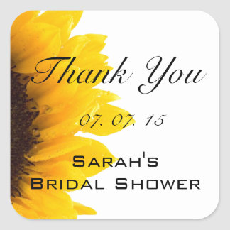 Sunflower Thank You Message Bridal Shower Stickers
