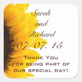 Sunflower Thank You Message Wedding Favor Sticker