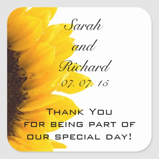 Sunflower Thank You Message Wedding Favor Stickers
