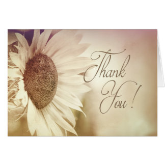 Sunflower - Thank You Note Cards - Dreamy Beige