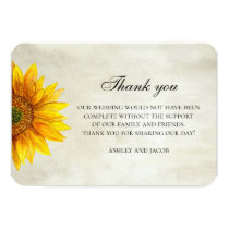 Sunflower thank you. Rustic flower wedding note Card