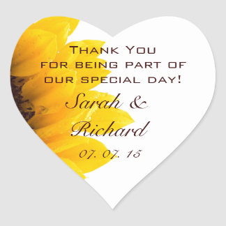 Sunflower Thank You Wedding Favor Heart  Sticker