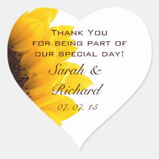 Sunflower Thank You Wedding Favor Heart  Sticker