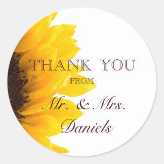 Sunflower Thank You Wedding Favor Sticker
