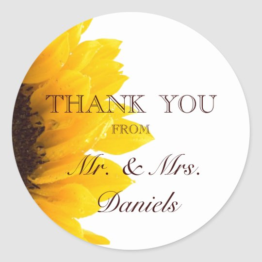 Sunflower Thank You Wedding Favor Sticker Zazzle