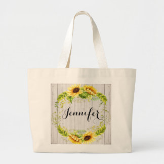 Sunflower Theme Large Tote Bag