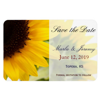 Sunflower theme save the date rectangular photo magnet