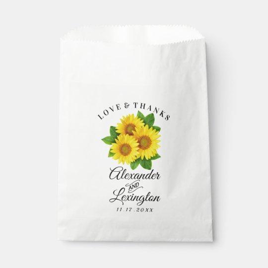 sunflower themed wedding favor bag sunflowers