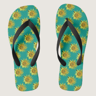 Sunflower Tiled Design Teal Ovarian Cancer Flip Flops