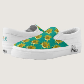 Sunflower Tiled Design Teal Slip-On Sneakers