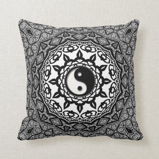 Sunflower Tribal Yin Yang Fusion Art Cushion