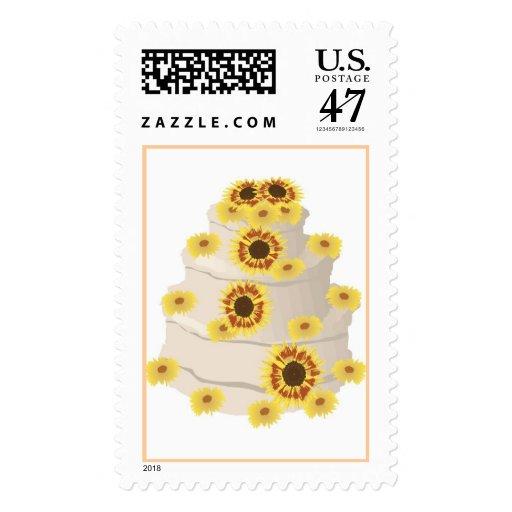 sunflower trim wedding cake postage stamps zazzle. Black Bedroom Furniture Sets. Home Design Ideas