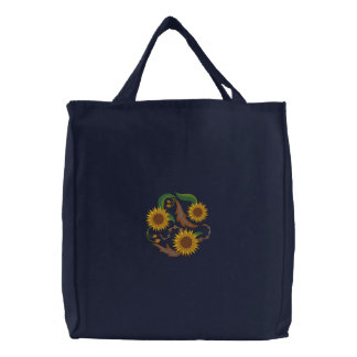 Sunflower Trio Embroidered Tote Bag