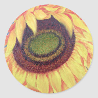 Sunflower Tropical Floral Art Painting - Multi Classic Round Sticker