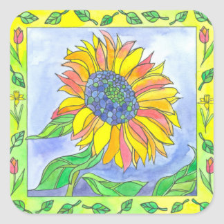 Sunflower Tulips Watercolor Flowers Illustration Square Sticker