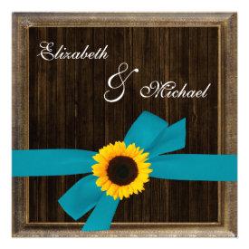 Sunflower Turquoise Ribbon Barn Wood Frame Wedding Announcements