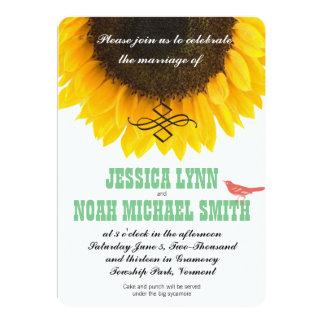 Sunflower Typography Modern Wedding Card