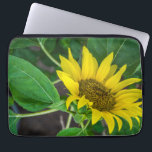 "Sunflower up close laptop sleeve<br><div class=""desc"">A close up photograph of a beautiful sunflower printed on a laptop sleeve.</div>"