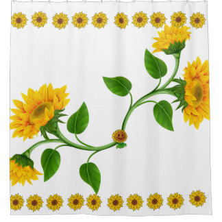 Sunflower-upgrade tub With a new shower curtain
