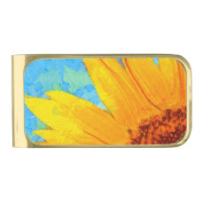 Sunflower Van Gogh Square Gold Finish Money Clip