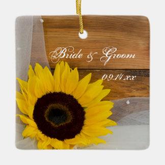 Sunflower Veil Wedding Bridesmaid Thank You Ceramic Ornament