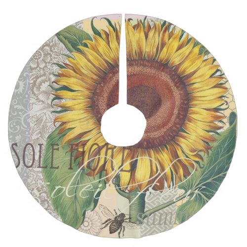 Sunflower Vintage Damask Wallpaper Collage Brushed Polyester Tree Skirt