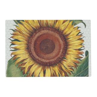 Sunflower Vintage Damask Wallpaper Collage Placemat