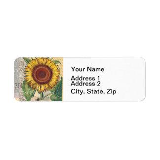 Sunflower Vintage Damask Wallpaper Collage Return Address Label