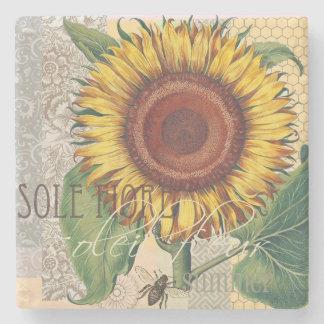 Sunflower Vintage Damask Wallpaper Collage Stone Coaster