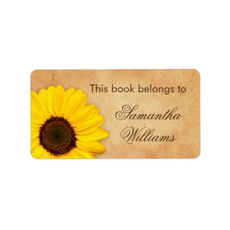 Sunflower vintage stained old paper bookplates