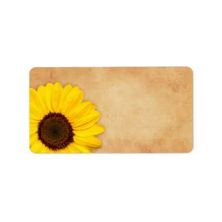Sunflower vintage stained old paper texture labels
