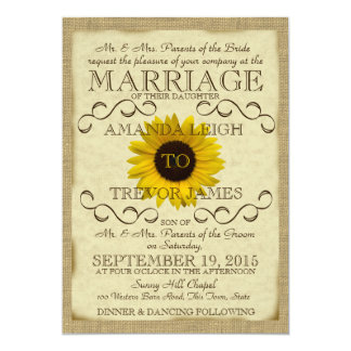 Sunflower Vintage Typography Wedding Card