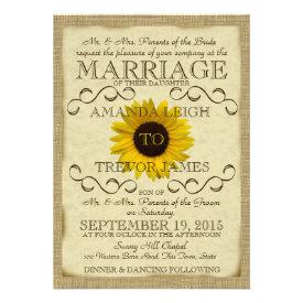 Sunflower Vintage Typography Wedding Invitation