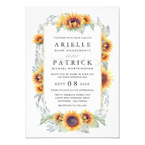 Simple Yellow Wedding Invitations with Sunflowers